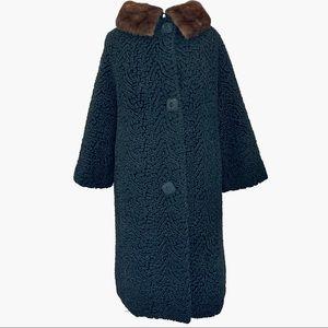 Vintage 50s Persian Lamb Wool Trench Coat Mink Fur